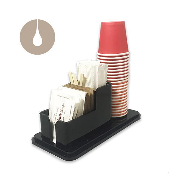Dispenser porta bicchierini, palettine e bustine di zucchero - colore nero