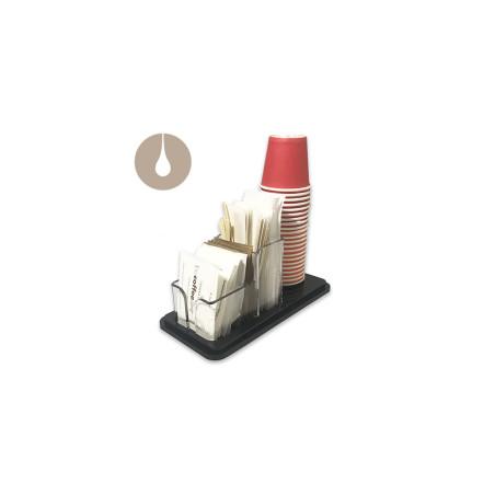 Dispenser porta bicchierini, palettine e bustine di zucchero - trasparente